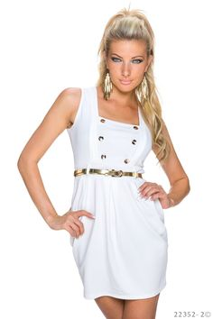Summer Effect White Dress, sleeveless, accessorized with belt, button accessories, slightly elastic fabric