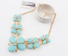 New Fashion Elegant Double Green Imitate Resin Collar Necklace