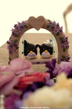 Wedding Cake Topper Handmade love penguins with love flower tree and a swing #wedding #handmadewedding #claydoll #cakedecor #penguin https://www.etsy.com/listing/56730936/custom-wedding-cake-topper-handmade-love?ref=shop_home_active_22