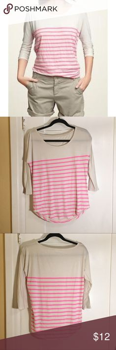 SALE❗️Gap Neon Stripe Dolman Top Scoop neck neon pink striped Dolman top. 3/4 sleeves. Size xs. In excellent condition. GAP Tops