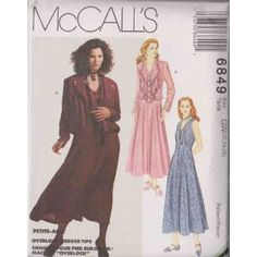 Misses Unlined Jacket And Dress McCall's Sewing Pattern 6849 (Size GW: 22-24-26)$13.95