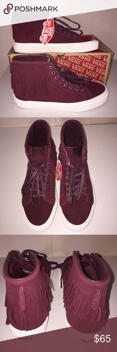 NWT Vans Suede SK-8 Hi Moc Port Royale Beautiful and stylish suede shoes with moccasin inspired fringes.  Rich purplish burgundy wine color will be sure to add a pop of color to any outfit🌹 M 7/ W 8.5 M 8/ W 9.5 M 8.5/W 10 Vans Shoes Sneakers