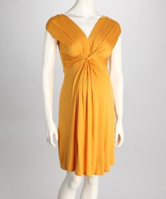 Mustard Knotted Maternity Dress