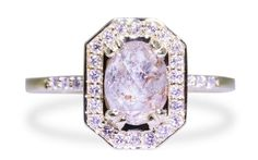 KATLA Ring in Yellow Gold with 1.53 Carat Glowing Gray with Peach Diamond http://ss1.us/a/gtKvCDBh