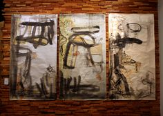 """Three Primordial Energies,"" 2012.Triptych combining printmaking techniques (monotype, serigraphy, image transfer and relief) with direct ink painting. Each panel measures about 4 - 5 feet in length. The shapes are abstracted elements from important sites of human cultural and social innovation, combined with the symbols of the Taoist immortals, the Three Primordial Energies, from which all non-matter is sorted into defined matter."