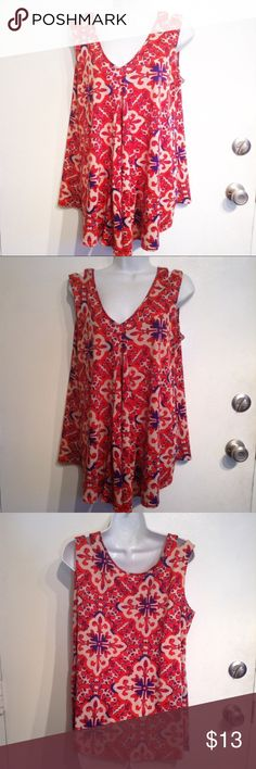 "🌟5 for $25🌟 Boho Kaleidoscope Print Flowy Tank Red boho mandala kaleidoscope Print flowy tank with Strappy slit strap. V neck. Size large. No brand tags. Measures 20.5"" flat from armpit to armpit and 30"" life my at shortest part of hem. No modeling. Smoke free home. Everything in my closet is 5 for $25! Tops Tank Tops"