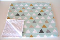 Mint triangles minky baby blanket - gender neutral - modern boy nursery - mint gray mustard white nursery