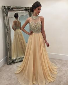 crystal beaded halter illusion back long champagne