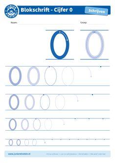 Cijfer 0 - Dit werkblad biedt het cijfer 0 aan. Oefen eerst het cijfer een aantal keer op de eerste, grote cijfers. Oefen daarna de cijfers steeds kleiner. Tip: pak een aantal gekleurde potloden en schrijf het cijfer elke keer met een andere kleur! Je kunt gewoon over het vorige lijntje heen schrijven. Zo oefen je het cijfer meerdere keren en onthoud je het beter. Je kunt het blad ook vaker printen. Download ook de andere oefenbladen en maak een boekje van al je geschreven cijfers! Pre Writing, 4 Kids, Homeschool, Teacher, Letters, Activities, Education, Ideas, Math Practices