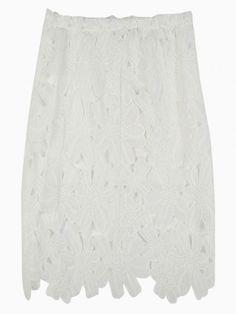 White Lace Pencil Skirt - Choies.com