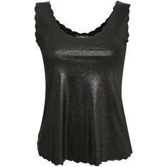 Pilot Foil Effect Scallop Edge Vest Top ($12) ❤ liked on Polyvore featuring tops, silver, scallop top, scalloped tank, shimmer tops, scalloped tank top and scallop hem top
