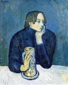 """Pablo Picasso. """"Le bock"""". Portrait de Jaime Sabartest. #art #blue #painting"""