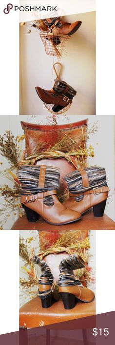 Francesca's Yarn Fall Boots 🍂 What's in your harvest basket? I dunno, but it should be these boots! Worn once. Decorative brass snap missing from one boot but still in great condition! Francesca's Collections Shoes Ankle Boots & Booties