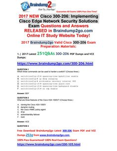 [Full-Version]Braindump2go New 300-206 PDF and 300-206 VCE 251Q Free Share(1-12)
