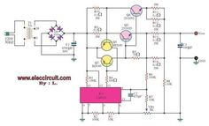 This is DC Power supply 0 regulator, output It use DC voltage regulator IC + power transistor to increase current up. Diy Electronics, Electronics Projects, Power Supply Design, Battery Charger Circuit, Electronic Circuit Projects, Arduino Projects, Power Supply Circuit, Electronic Schematics, Circuit Design