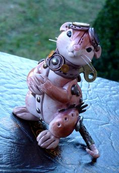 Polymer Clay Steampunk Windup Mouse Myxie Pal by MysticReflections