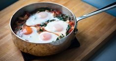 Baked Eggs with Spinach, Tomatoes, and White Beans