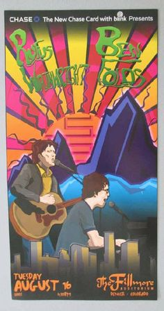 Original concert poster for Rufus Wainwright and Ben Folds at The Fillmore in Denver, CO in 2005. 10 x 19.25 inches. Light handling marks.