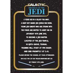 Star Wars Themed Birthday Party Jedi Training Academy Invitations