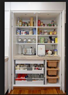 kitchen pantry design Smart DIY Kitchen Storage Ideas to Keep Everything in Order Diy Kitchen Cupboards, Kitchen Larder, Kitchen Pantry Design, Diy Kitchen Storage, Home Decor Kitchen, Interior Design Kitchen, Kitchen Furniture, Home Kitchens, Kitchen Remodel