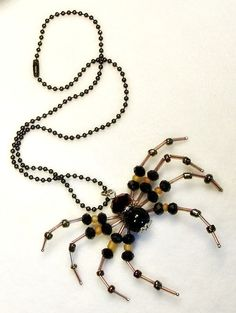 beaded spider pendant with black chain by sugarcookiedolls on Etsy, $15.00