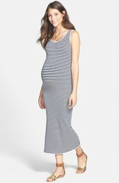 Tees by Tina Micro Stripe Maternity Dress available at #Nordstrom
