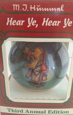 Goebel Hear Ye, Hear Ye MJ Hummel Glass Ornament/Goebel Ornament/MI Hummel Ornament/MJ Hummel Ornament/Glass Ornament/Christmas Ornament by NatomisTreasures on Etsy Cow Decor, Glass Christmas Ornaments, Vintage Holiday, Mj, Snow Globes, Lunch Box, Unique Jewelry, Handmade Gifts, Holidays