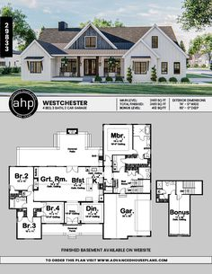modern home accents 1 Story Modern Farmhouse Style Plan Open Floor House Plans, Porch House Plans, 4 Bedroom House Plans, Basement House Plans, House Plans One Story, Craftsman House Plans, Country House Plans, Dream House Plans, Dream Houses