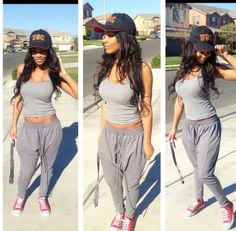 .grey tank like this and grey sweatpants and a  cap like THAT