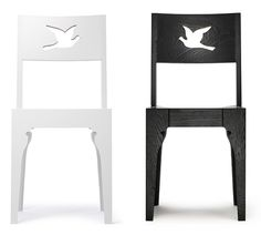 Stunning Dove cut out chairs from James Owen. Buy the originals at http://www.saatchionline.com/art/Sculpture-Wood-Dove/31535/1283674/view