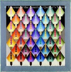 Designer Christmas Trees by Adrien Rothschild From National Quilt Museum (Museum of the American Quilter's Society), Founders Collection. <- spectrum based quilts are always fascinating Christmas Tree Quilt, Christmas Tree Design, Merry Christmas, Rainbow Quilt, Colorful Quilts, Bright Quilts, Quilt Modernen, Log Cabin Quilts, Log Cabins