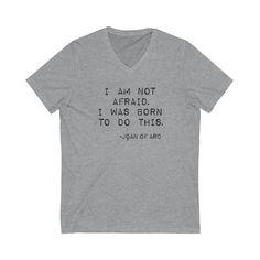 Joan of Arc Women's Deep V-Neck Tee - Joan of Arc - Inspirational Quote - Motivational Quote - Inspirational Shirt - Female Hero - Feminism Shirt - Feminist Shirt - Athletic Heather / L