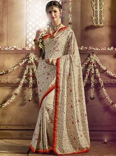 Beautiful Bisque Cream #Saree