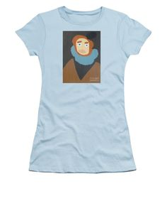 Patrick Francis Light Blue Designer Junior T-Shirt featuring the painting Portrait Of Maria Anna - After Diego Velazquez by Patrick Francis