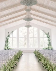 28 Greenery Wedding Decor Ideas Fresh for Spring,To celebrate Spring (and three cheers for daylight savings), we selected 28 greenery wedding decor ideas that are as fresh as they come for spring weddings. From beautiful floral installations to wedd. Wedding Ceremony Decorations, Wedding Backdrops, Wedding Centerpieces, Ceremony Backdrop, Decor Wedding, Wedding Reception, Modern Wedding Venue, Dallas Wedding Venues, Wedding Lighting