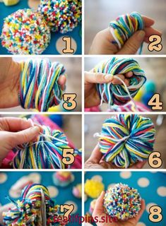 Easy to make pom pom bunnies for the kids to hide with the eggs for next year's egg hunt Pom Pom Rug, Pom Pom Wreath, Pom Poms, Diy Arts And Crafts, Diy Crafts To Sell, Diy Crafts For Kids, Pom Pom Crafts, Yarn Crafts, Pouf En Crochet
