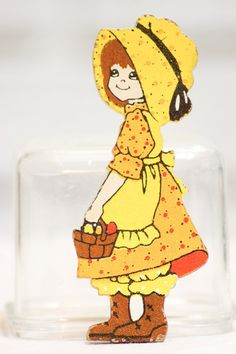 Vintage Wooden figure girl in yellow dress and by CabinOn6th, $4.00