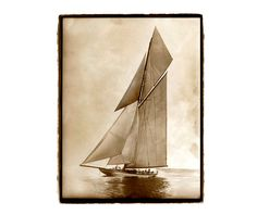 landscape photography, nature photography, ocean, sailing, beach, nautical, Sailboat, Boating, Sepia, Ocean, Cream Fine Art Print 11X14 on Etsy, $35.00