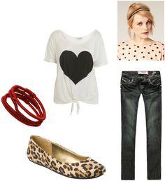 outfit 2: Tee shirt, leopard flats, skinny jeans, headbands