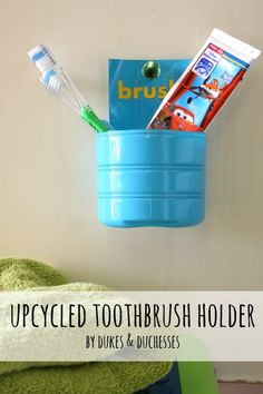 a coffee creamer bottle upcycled into a toothbrush holder