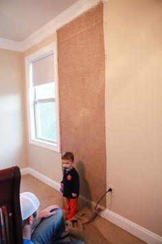 #DIY burlap accent wall