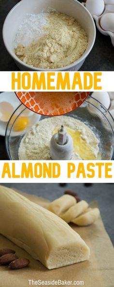 Homemade Almond Paste - sub swerve for keto Candy Recipes, Cookie Recipes, Dessert Recipes, Desserts, Dutch Recipes, Sweet Recipes, Amish Recipes, Almond Paste Cookies, Almond Flour Recipes
