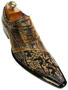 Zota Mens Tan Marbled Leather Metal Toe Floral Pony Hair Dress Party Oxford Shoe