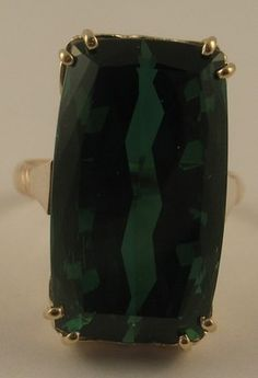FINE HUGE 23.04ct Electric Green Tourmaline 14k Yellow Gold Cocktail Ring