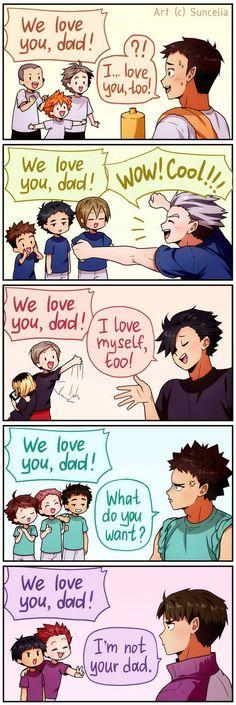 We love you, dad! by Suncelia on DeviantArt Haikyuu! We love you, dad! by Suncelia on DeviantArt Manga Haikyuu, Haikyuu Karasuno, Haikyuu Funny, Haikyuu Fanart, Nishinoya, Anime Meme, 5 Anime, Girls Anime, Anime Art