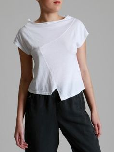 COTTON-MODAL T-SHIRT, from Lurdebergada.es // Again, this tee plays on the typical tee shape, subtley playing with panel lines and drape to elevate the boxy tee shape to have some more interest and though behind the way it addresses the body. Simple, yet effective in creating a more unique t-shirt shape.