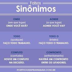 falsos sinônimos em portugues