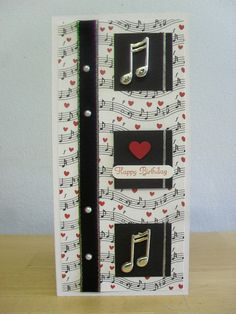 Music Card - I'd be soo happy if I got this for my birthday! Hand Made Greeting Cards, Making Greeting Cards, Greeting Cards Handmade, Musical Cards, Mom Cards, Scrapbook Cards, Scrapbooking, Card Sentiments, Beautiful Handmade Cards