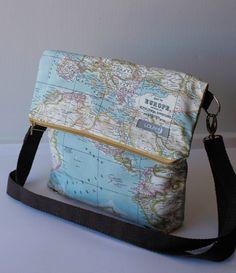 Bolso bag tasche mochila backpack rucksack hecho a mano tela loneta canvas algodon cotton estampados calidad elegante color accesorios complementos Lolahn Handmade - Mapamundi 2