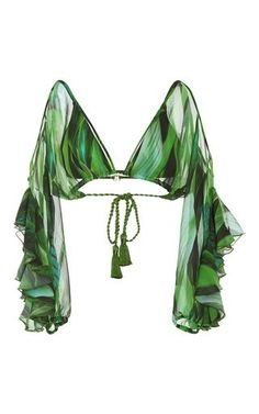 Jungle Green Agua de Coco Folhas Draped Bikini Top - Bra and Bikini Fashion Green Swimsuit, Green Bikini, Bikini Swimsuit, Swimsuit Tops, Bandeau Bikini, Tankini Swimsuits For Women, Flounce Bikini, Bikini Beach, Tankini Top